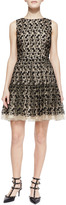 RED Valentino Polka-Dot Embroidery Dress, Natural/Black