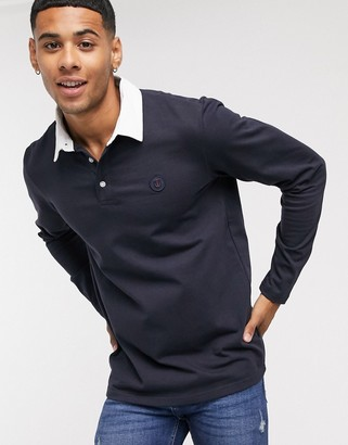 Jack and Jones rugby with contrast collar in navy