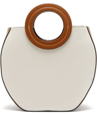 STAUD Frida Canvas And Leather Tote Bag - Womens - Beige Multi
