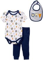 Rene Rofe Animal Friends Bodysuit, Pant, & Bib Set (Baby Boys)