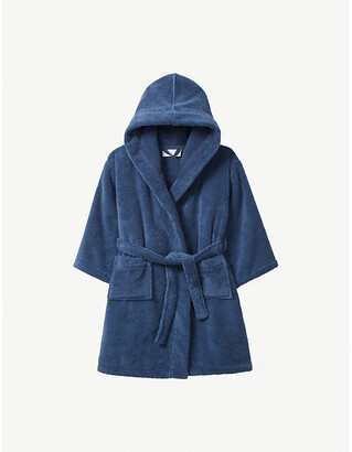 The Little White Company Hydrocotton dressing gown 5-12 years, Size: 11-12 years, Moonlight blue