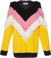 MSGM Chevron Fringed Wool Sweater