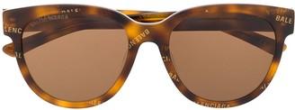 Balenciaga Eyewear Logo Print Soft Round-Frame Sunglasses