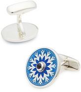 Belfiore Sunburst Turquoise Round Silver Cufflinks