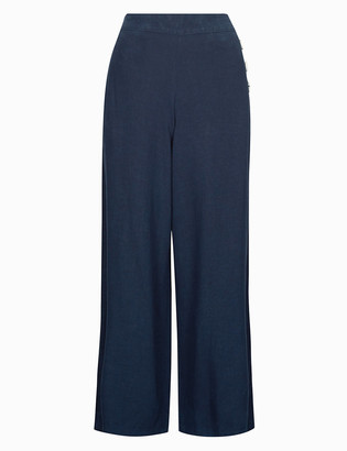 Marks and Spencer Linen Textured Wide Leg Trousers