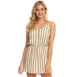 Only Womens Earth Strappy Playsuit Cloud Dancer Stripes/Silver Mink