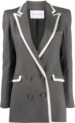 Hebe Studio Contrast-Trim Double Breasted Blazer