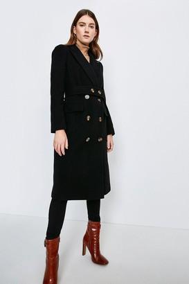 Karen Millen Wool Rich Button Belted Double Breasted Coat