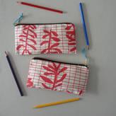 Mr.PS 'Sprig Grid' Leafy Pattern Printed Pencil Case