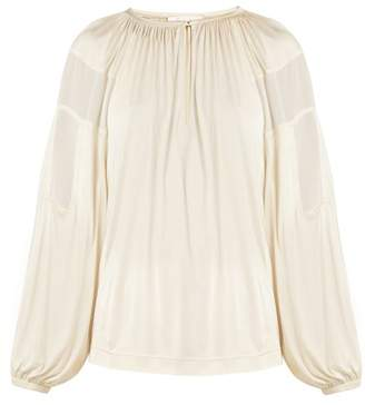 Chloé Gathered-neck Balloon-sleeve Blouse - Womens - Cream