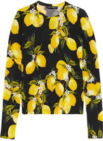Dolce & Gabbana Printed Cashmere And Silk-blend Sweater - Yellow