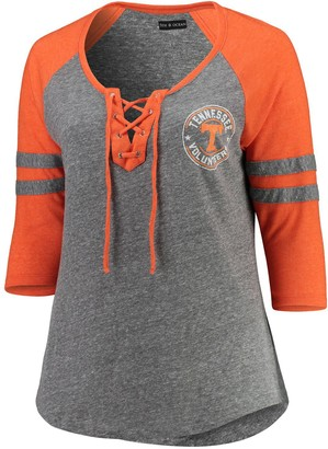 New Era Women's 5th & Ocean by Heathered Gray/Heathered Orange Tennessee Volunteers Plus Size Lace-Up Raglan 3/4-Sleeve T-Shirt