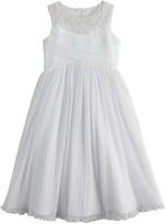 Bonnie Jean Girls 7-16 Pleated Tulle Beaded Neckline Dress