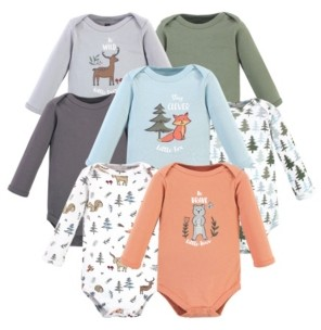 Hudson Baby Boys and Girls Cotton Bodysuits, Long Sleeve