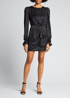 Saloni Debbie Long-Sleeve Silk Cocktail Dress