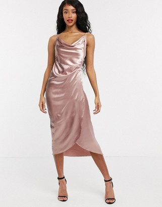 Flounce London Club cami mini slip dress in pink