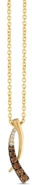 "LeVian Le Vian Chocolatier Chocolate Diamonds (3/8 ct. t.w.) & Vanilla Diamonds (1/20 ct. t.w.) 18"" Pendant Necklace in 14k Gold"