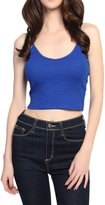 TheMogan Women's Basic Ribbed Knit Strappy Crop Tank Top L