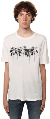 Saint Laurent Logo Palm Print Cotton Jersey T-Shirt