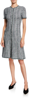 St. John Short-Sleeve Ribbon Textured Inlay Tweed Dress with Fringe Trim