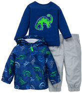 Little Me Baby Boys Three-Piece Dinosaur Hoodie, Pullover Tee and Pants Set