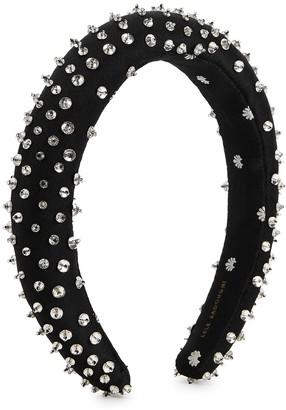 Lele Sadoughi Black embellished satin headband