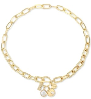 """INC International Concepts Inc Gold-Tone Imitation & Genuine Pearl Oval-Link 16-1/2"""" Short Pendant Necklace, Created for Macy's"""