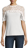 Elie Tahari Flora Short-Sleeve Merino Sweater w/ Lace Yoke
