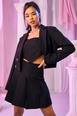 boohoo Tailored Double Breasted Cropped Blazer