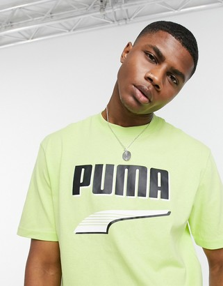 Puma Downtown chest logo t-shirt in lime