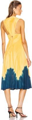 Proenza Schouler Tie Dye Sleeveless Knotted Back Dress in Orange & Blue | FWRD