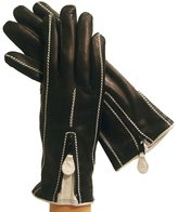 "Women's Italian Leather Gloves Lined in Cashmere. "" 1 Zipper"" By Solo Classe."