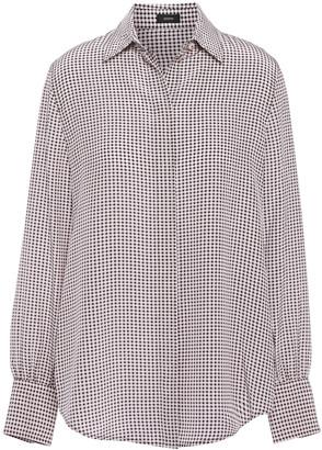 Joseph Klein Houndstooth Washed-silk Shirt