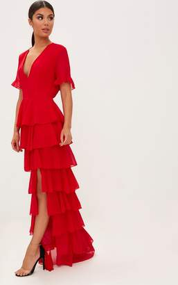 PrettyLittleThing Red Chiffon Ruffle Layer Maxi Dress