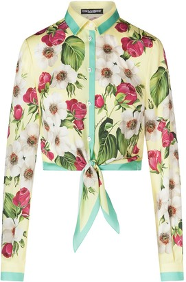 Dolce & Gabbana Floral-Print Tie Front Shirt