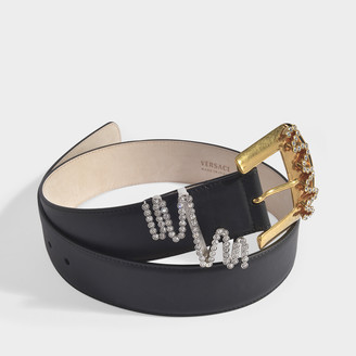 Versace Belt In Black Leather With Strass Detail