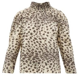 Sea Leo Ruffled Leopard-print Cotton-voile Top - Leopard