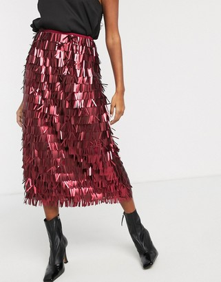 Lost Ink high waist midi skirt in all over sequin