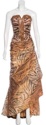 Murad Zuhair Embellished Animal Print Gown