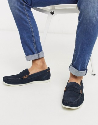 Silver Street suede penny contrast sole loafer in navy