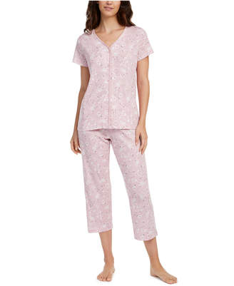 Charter Club Cotton Short-Sleeve Top & Capri Pajama Pants Set