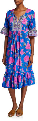 Bella Tu Peony Flutter-Sleeve Tassel-Tie Ruffle-Hem Midi Dress