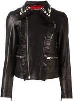 Gucci studded leather biker jacket - women - Lamb Skin/Viscose/Brass - 40
