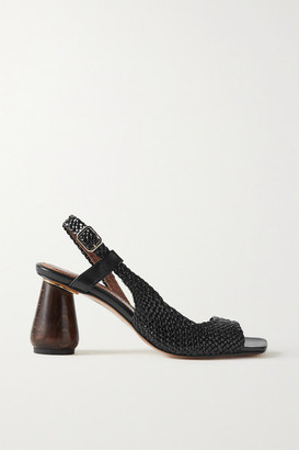 Souliers Martinez Higuera Woven Leather Slingback Sandals - Black