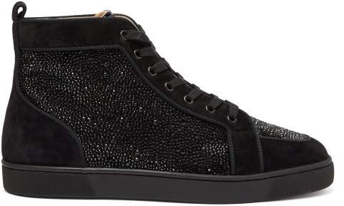 30247816373 Rantus Crystal Embellished High Top Suede Trainers - Mens - Black