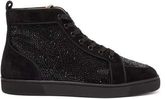 Christian Louboutin Rantus Crystal Embellished High Top Suede Trainers - Mens - Black
