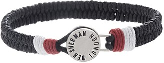 Ben Sherman Men's Black/White/Red Braided Wrap Cord Bracelet with Stainless Steel Disc Closure