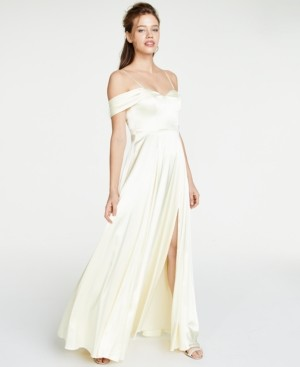 Sequin Hearts Juniors' Satin Cold-Shoulder Gown