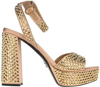 Prada Embellished Ankle Strap Platform Sandals