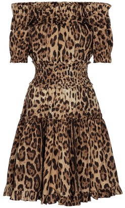 Dolce & Gabbana Leopard-print cotton minidress